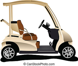 Electrical golf car on isolated white background. Vector ...