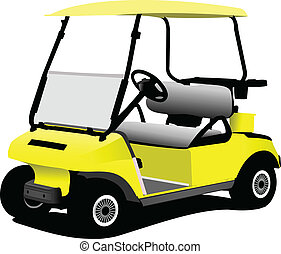 Electrical golf car on isolated white background. Vector...