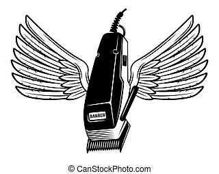 Electrical hair clipper with wings vector illustration in monochrome vintage style isolated on white background
