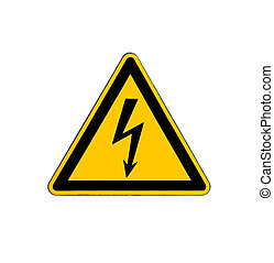Electrical hazard high voltage sign isolated on white