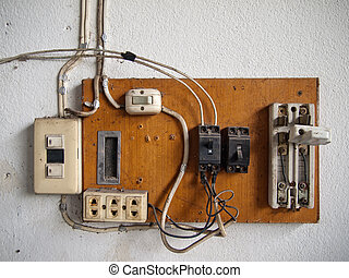 Electrical in wood panel - old dirty Electrical in wood...