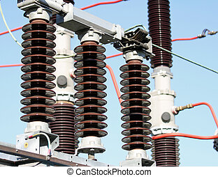 Electrical insulators in a high-voltage power station - ...