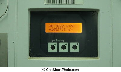 Electrical Measuring Instrument With Dial in Manufacturing. Reading Cubic Meter Per Hour