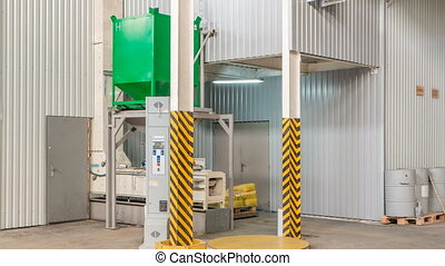 Electrical mill machinery and elevator for the production of seeds timelapse. Grain equipment.