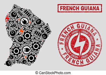 Electrical Mosaic French Guiana Map and Snowflakes and Textured Seals