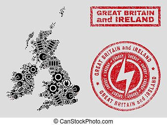 Electrical Mosaic Great Britain and Ireland Map and Snow and Grunge Stamps