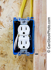 Electrical Outlet - A close up on an unfinished electrical...
