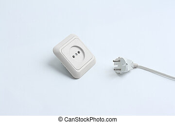 electrical outlet and plug. isolated on a white background