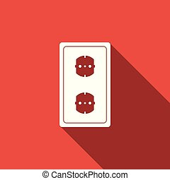 Electrical outlet icon isolated with long shadow. Power socket. Rosette symbol. Flat design. Vector Illustration