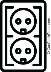 Electrical outlet icon, outline style