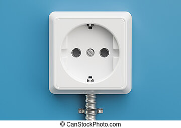 electrical outlet on the blue wall, 3D rendering