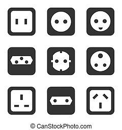 Electrical outlet type. Socket icon. Vector illustration, flat design.