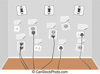 Electrical outlets with several connected cables