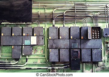 Electrical panel with fuses and contractors in controller room