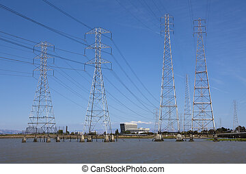 Electrical Pilars in The Water