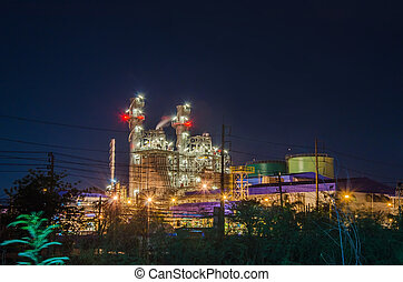 Electrical plant with night landscape in the industrial park.