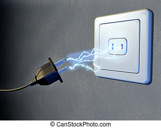 Electrical plug and outlet generating electricity sparks. ...