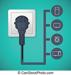 Electrical plug closeup. Flat icons with silhouettes of ...