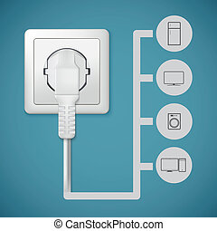Electrical plug closeup. Flat icons with silhouettes of electric appliances.