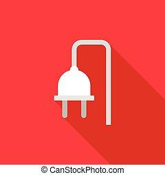Electrical plug icon, flat style