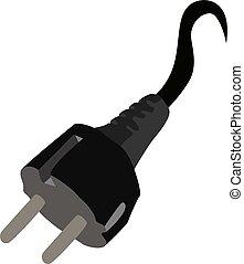 Electrical plug, illustration, vector on white background.