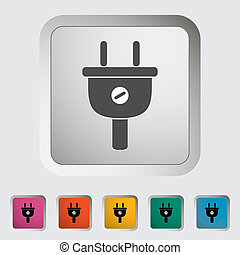 Electrical plug. Single icon. Vector illustration.