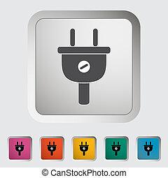 Electrical plug. Single icon. Vector illustration.