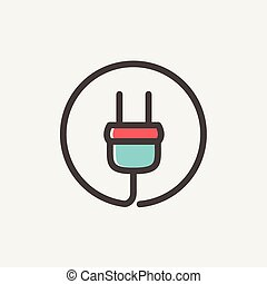 Electrical plug thin line icon