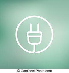 Electrical plug thin line icon - Electrical plug icon thin...