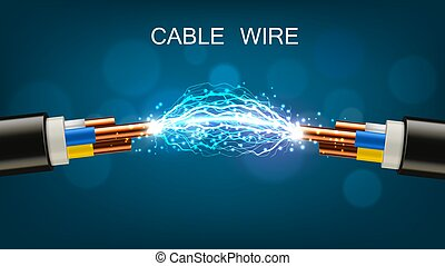 Electrical cable with copper wires, power equipment of energy industry. Vector realistic cable break or disconnect with electric discharge and sparks between stripped conductors