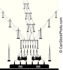 Electrical power grid substation - vector illustration