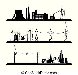 Electrical power grid - vector illustration