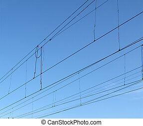 electrical power line concept, blue sky