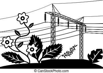 Electrical power line over field with flowers ? vector illustration