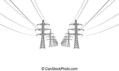 Electrical power lines and pylons on white background. 4K ...