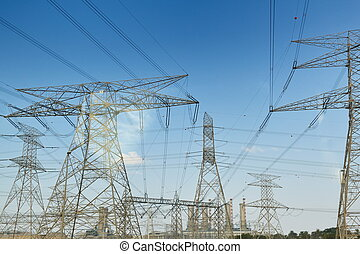 Electrical power lines and towers - Electrical power ...