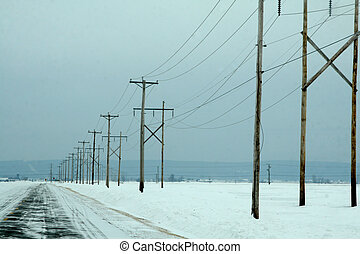Electrical power lines in winter
