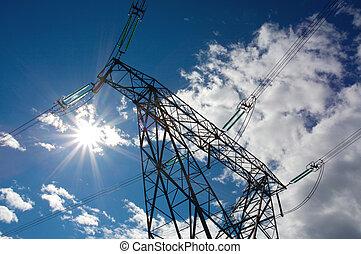 Electrical power pylon - Electricity power pylon with sun ...