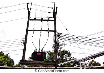 Electrical power transformer on high pole