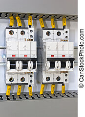 Electrical protection - Close up of miniature circuit...