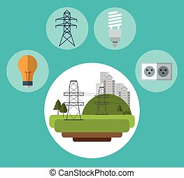 electrical pylon city bulb plug ecology