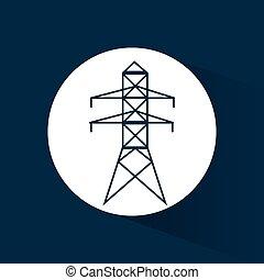 electrical pylon energy power blue background