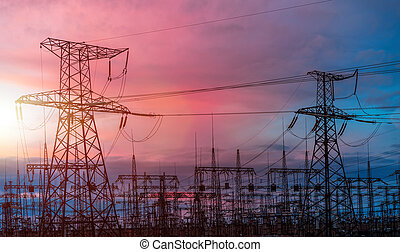 Electrical pylons on the background of the transformer...