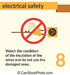 Electrical Safety simple vector art poster - Occupational...