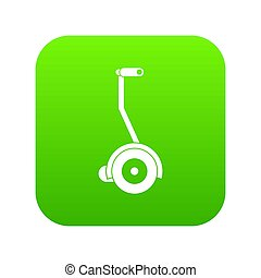 Electrical self balancing scooter icon digital green
