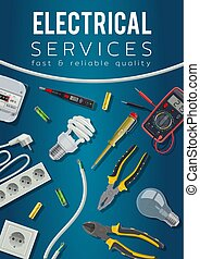 Electrical service tools, power equipment, cable