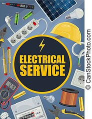 Electrical service, vector tools and equipment