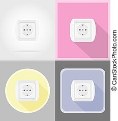 electrical socket flat icons vector illustration