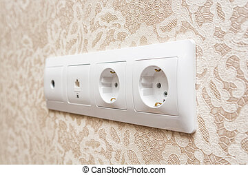 Electrical socket on a wall