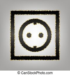Electrical socket sign. Vector. Blackish icon with golden...